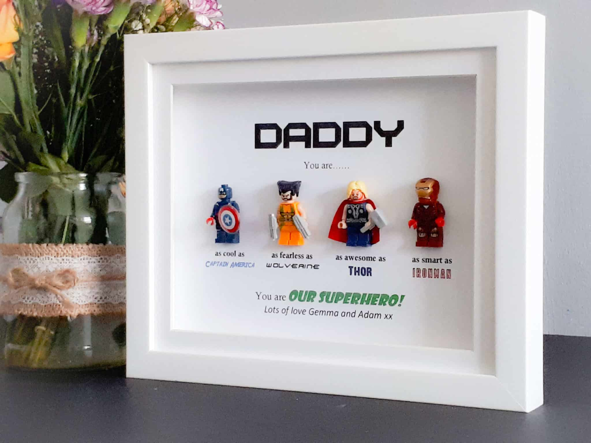 Lego Superhero Frame Personalised Gifts Perfect For Daddy Dad
