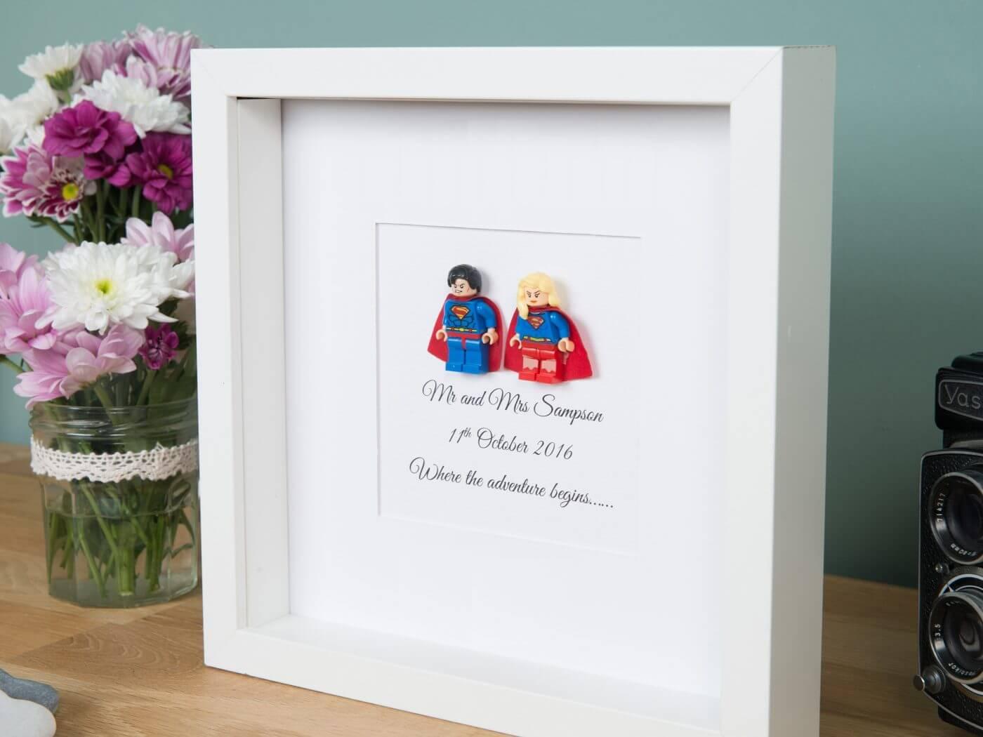 Lego Superhero wedding frame | Personalised gifts | FREE UK delivery