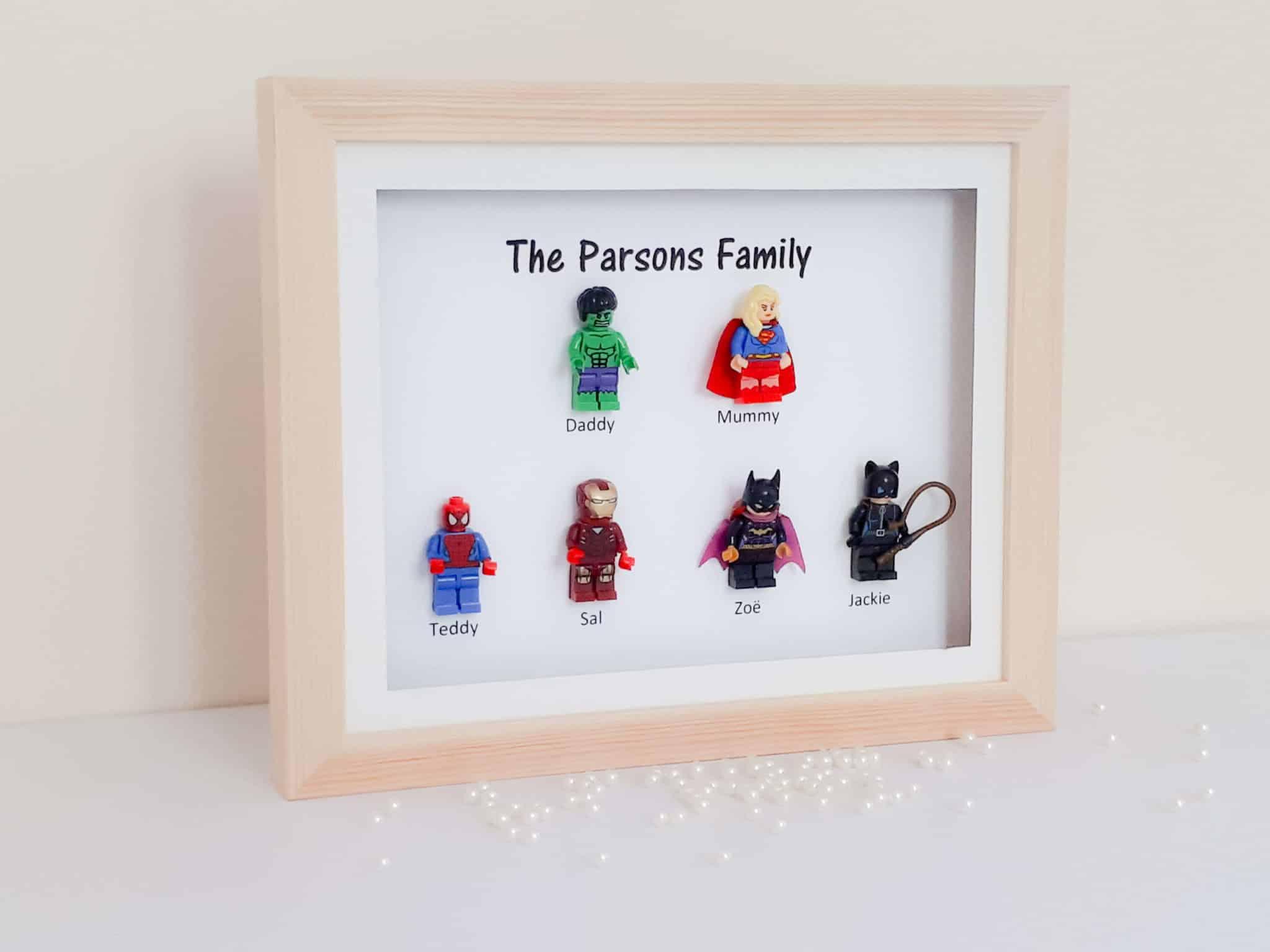 Lego superhero family frame | FREE UK delivery | Little gems online